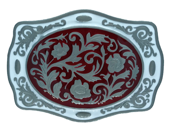 Scroll Western Red White Belt Buckle