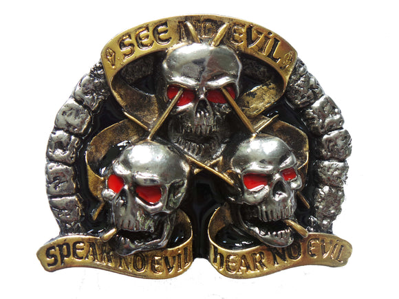 See no Evil Speak no Evil Hear no Evil Belt Buckle