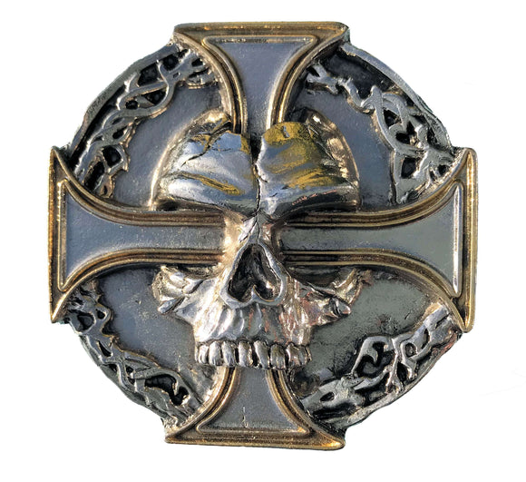Skull on Cross Belt Buckle