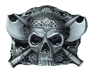 Skull and Axes Belt Buckle