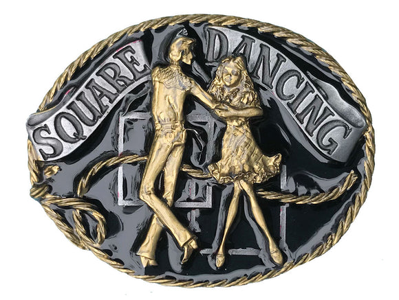 Square Dancing Black Gold Belt Buckle