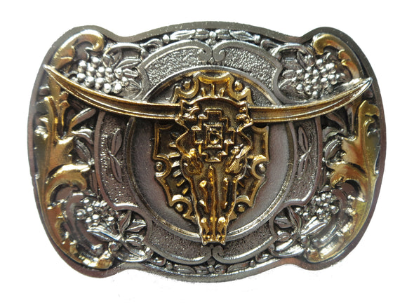 Steer Skull Silver Gold Belt Buckle