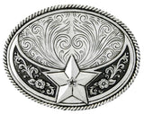 Stetson Silver Plated Star Belt Buckle