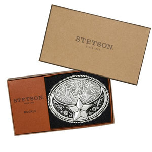 Stetson Silver Plated Star Belt Buckle Gift Box