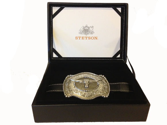Stetson Steer Belt Buckle Special Leather Box