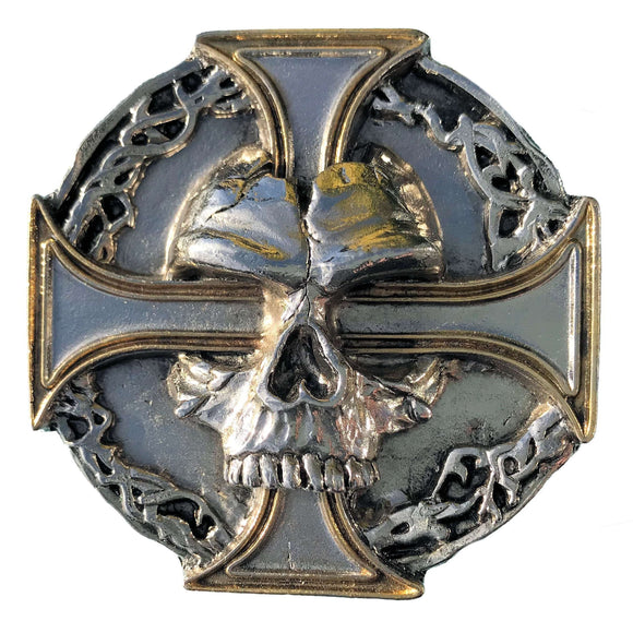 Skull and Cross Gold Belt Buckle