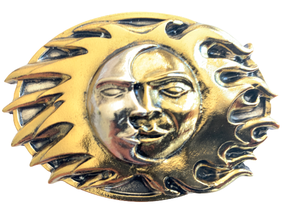 Sun and Moon Silver Gold Belt Buckle