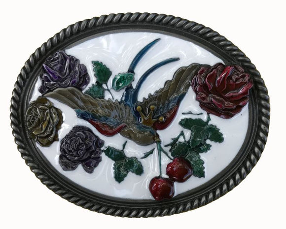 Swallows Cherries White Belt Buckle