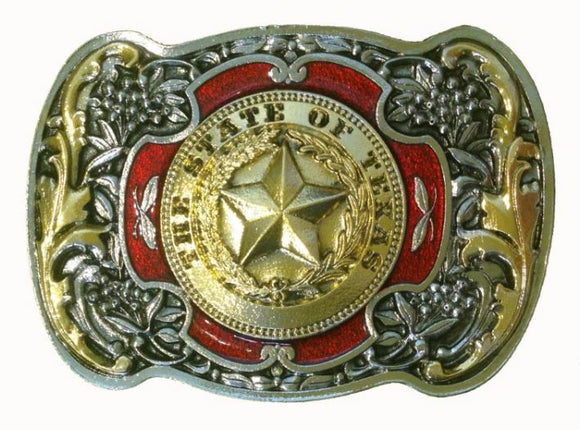 Texas Star Red Gold Belt Buckle