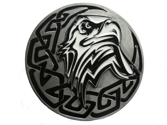 Tribal Eagle Head Front View Belt Buckle