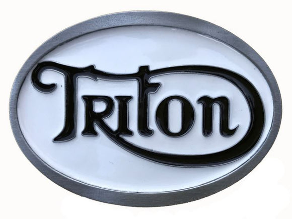 Triton White Black Belt Buckle