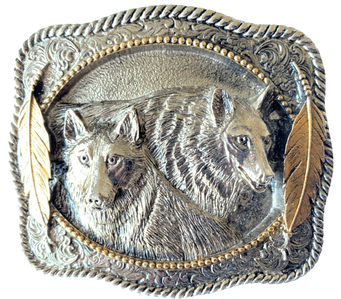 Two Wolfs Gold Belt Buckle