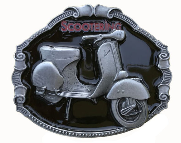 Vespa Scooter Black Belt Buckle