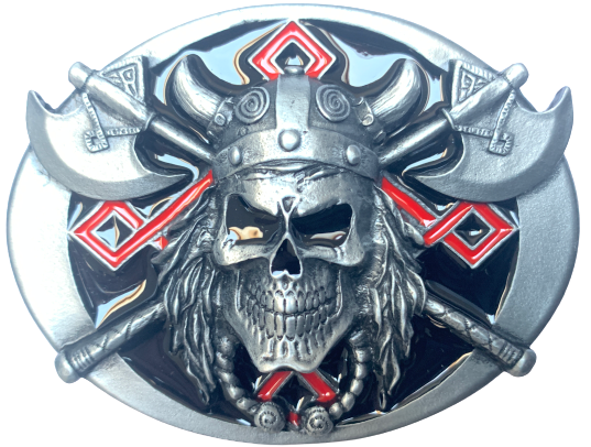 Viking Skull and Axes Belt Buckle