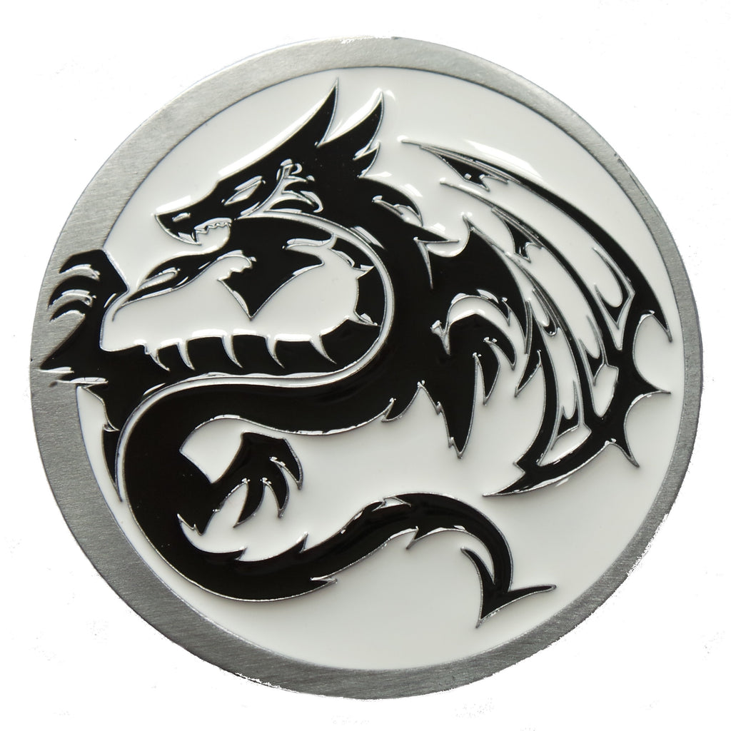 White Black Tribal Dragon Belt Buckle Mythical Design