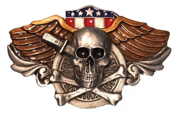Winged Skull Belt Buckle