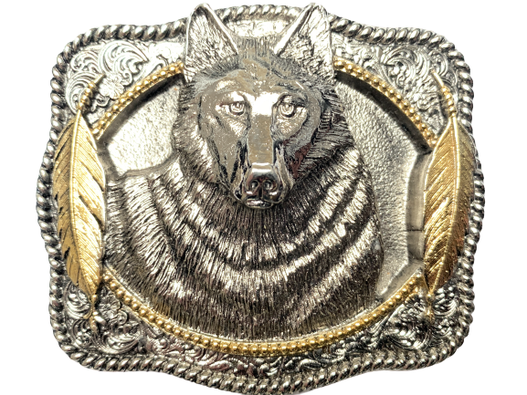 Wolf Head Silver Gold Belt Buckle