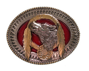 Wolf and Feathers Belt Buckle