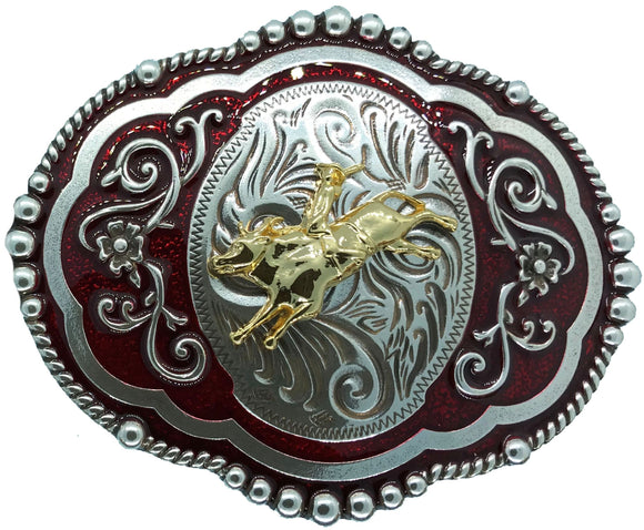 Wrangler Bull Rider Red Belt Buckle