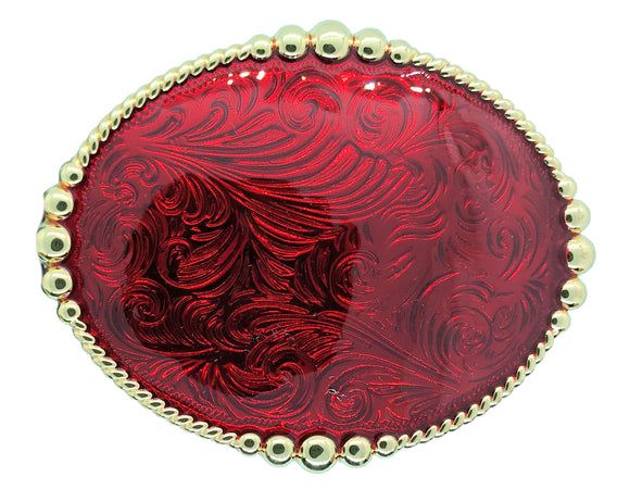 Wrangler Oval Rodeo Red Belt Buckle