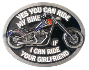 Yes You Can Ride My Bike Belt Buckle