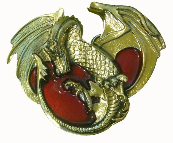 Senga Dragon Gold Red Belt Buckle