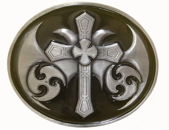 Celtic Cross Oval Black Belt Buckle