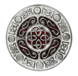 Round Celtic Design Red Belt Buckle