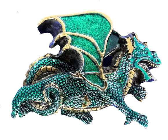 Dragon Gold Green Belt Buckle