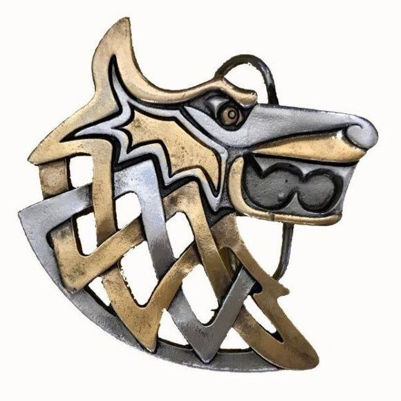 Viking Wolf Gold Belt Buckle