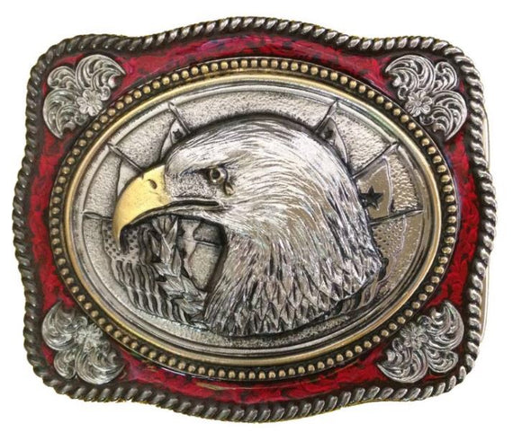 Eagle Head Gold Red Belt Buckle