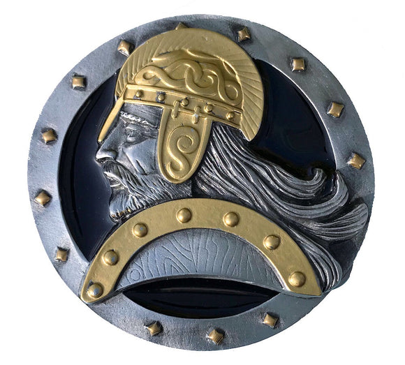 Viking Head Black Gold Belt Buckle