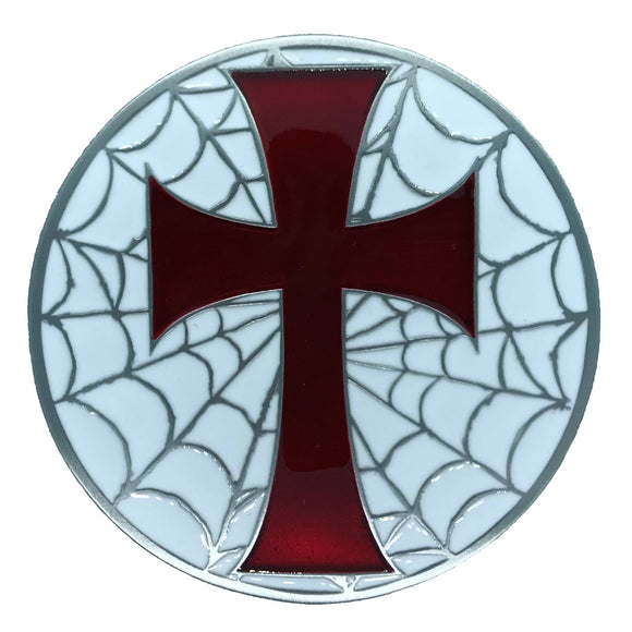 Cross Web Red White Belt Buckle