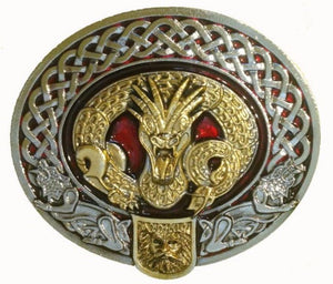 Celtic Nidhug Gold Red Belt Buckle