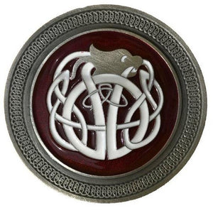 Celtic Knot Red White Belt Buckle