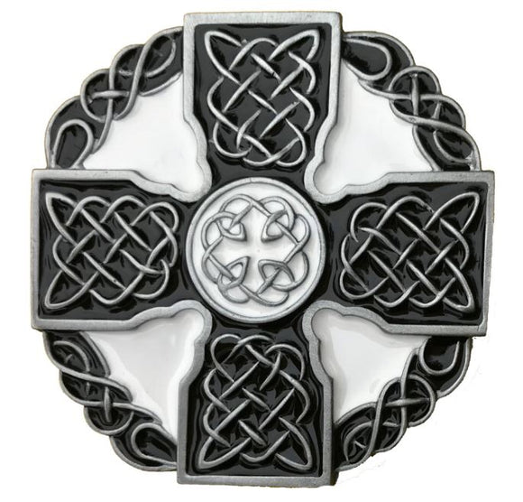 Celtic Cross Black White Belt Buckle