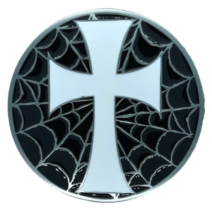 Cross Web Black White Belt Buckle
