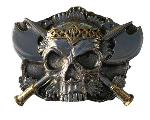 Skull and Axes Gold Belt Buckle