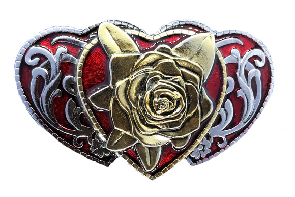 Rose Hearts Gold Red Belt Buckle