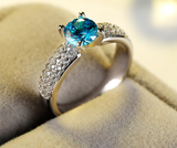 Luxury 0.8 Carat Round Ocean Blue AAA Cubic Zirconia Ring 1593