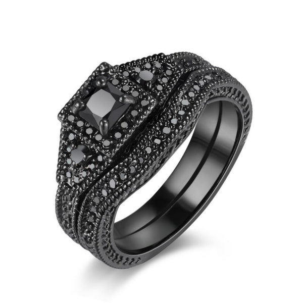 Black Rhodium Plated Sterling Silver Wedding Ring 1054