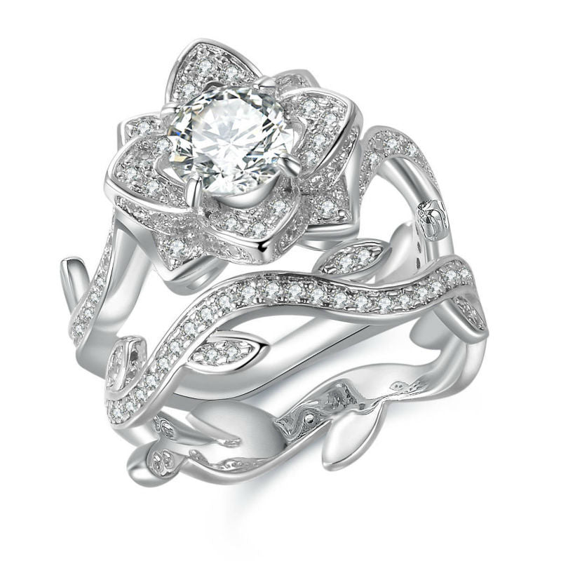 Beautiful Flower Shape 2.3 Carats Ring with Band on Sterling Silver 1034