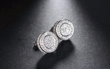 Classic Silver Paved Austrian Cubic Zirconia Stud Earrings 1616
