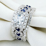 Stunning 2.2 Ct 3 piece Halo CZ Princess Cut with Blue Side Stone Ring 1178