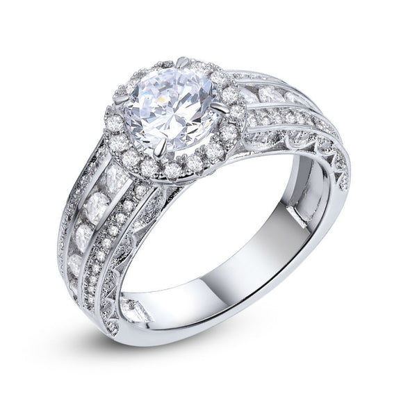 2.5 CT Round Cut Zirconia Halo Ring on Sterling Silver 1014