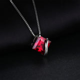 3.3ct Created Red Ruby Pendant on Sterling Silver 1229