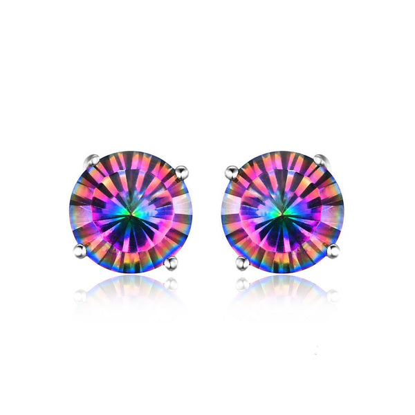 Sterling Silver with 2ct Genuine Mystic Rainbow Mystical Topaz Earrings Stud 1168