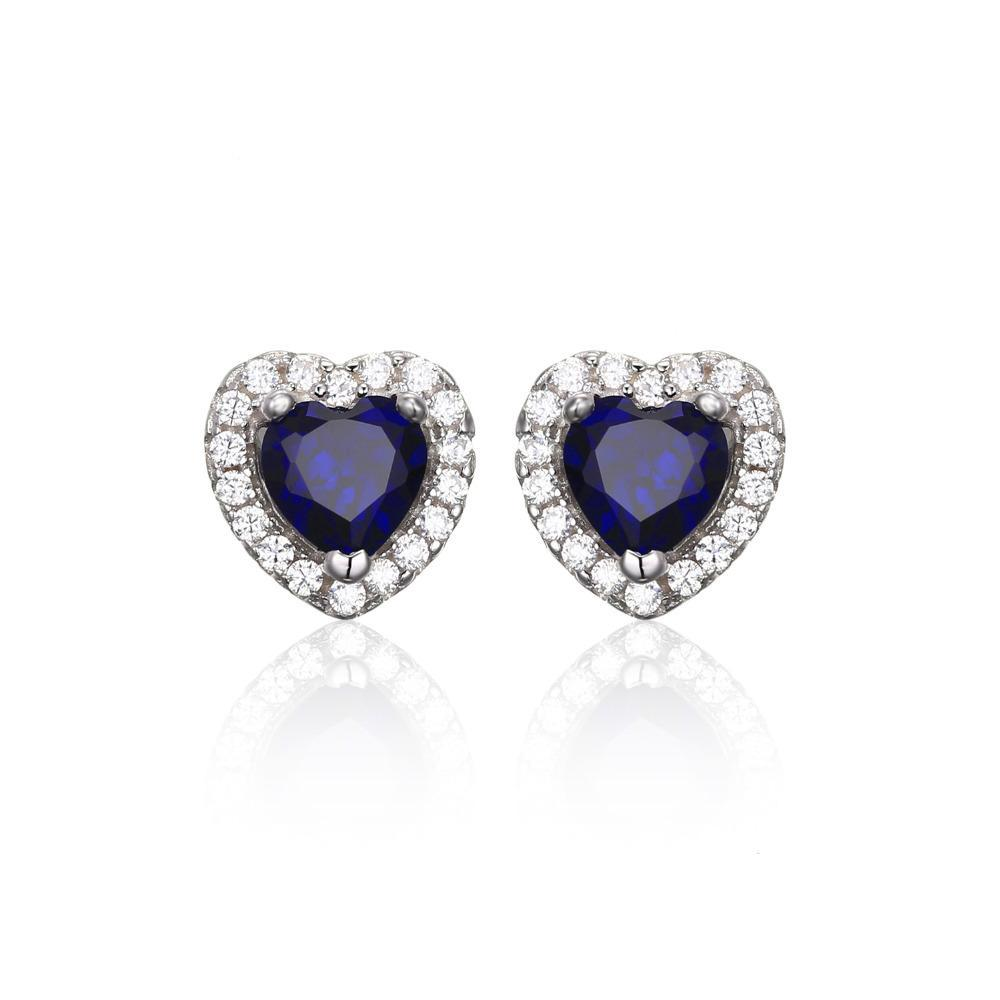 Sterling Silver with 1.2ct Created Blue Sapphire Stud Earrings 1147
