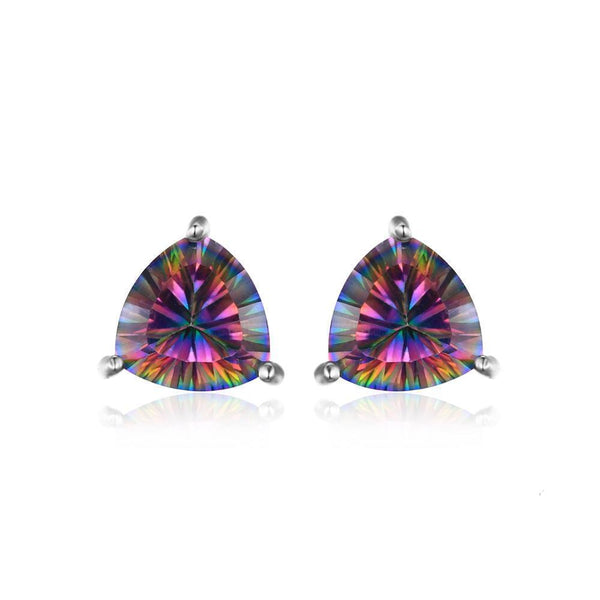 Sterling Silver Earrings with 6.3ct Genuine Rainbow Fire Mystic Topaz 1128