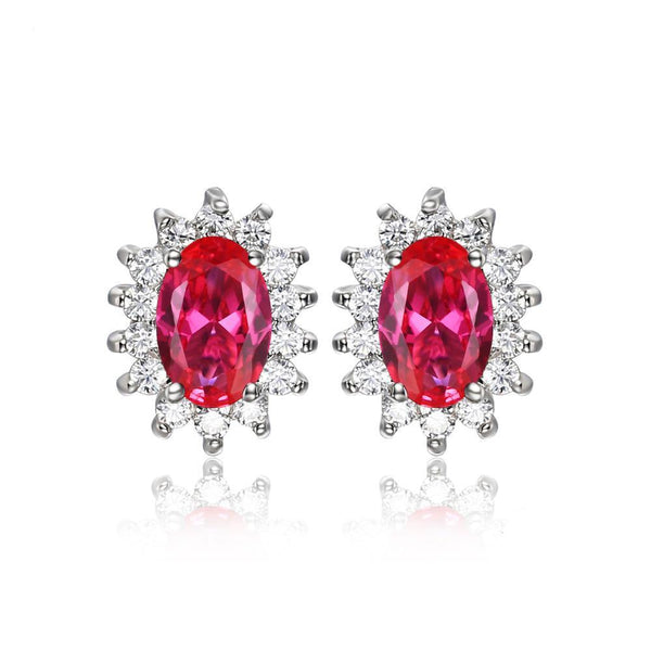 Sterling Silver with 1.5ct Created Red Ruby Stud Earrings Princess Diana William Kate Middleton's 1151